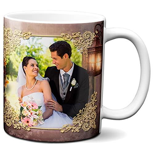 Spersonalizowany kubek z 2 zdjęciami - wykonany na zamówienie - spersonalizowany wzór - spersonalizowany kubek do kawy - motyw brązowej latarni - 325 ml ceramiczny kubek do herbaty