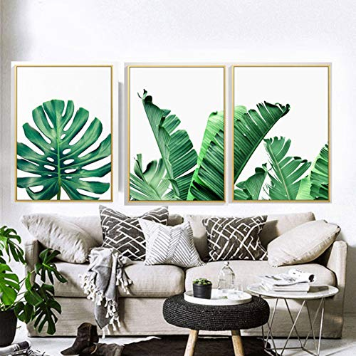 MMLFY 3 lienzos 30x40cm3pcs FGHGF Modern Prints Plant Leaf Art Posters y Prints Green Wall Art Canvas Painting Art Wall Pictures para Sala de Estar sin Marco