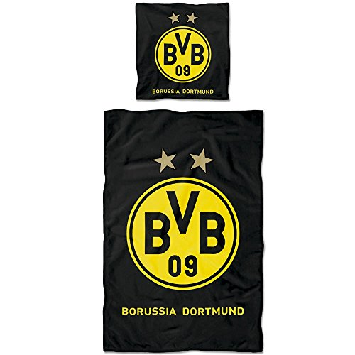 Borussia Dortmund BVB Bettwäsche mit Logo, Baumwolle, Schwarz/Gelb, 135 x 200 x 2 cm
