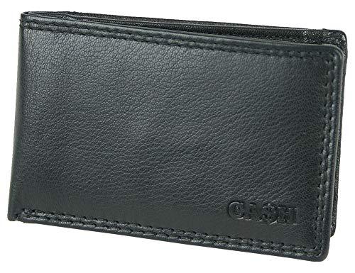 Cash Mini-Geldbörse aus Leder - extra-kleines schwarzes Portemonnaie mit Münzfach und Scheinfach