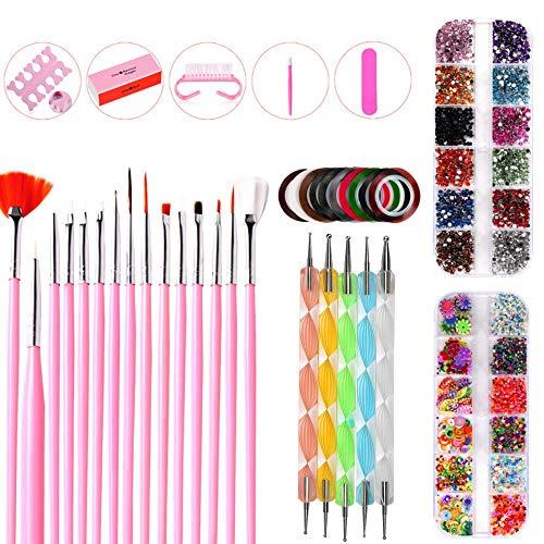 Nail Art Pinsel Set,15 Stücke Nagel Pinsel Rosa-5 Stücke Dotting Pen-10 Rolle Streifenband Nägel-2 Boxes Nageldiamant&Kleine Paillette & Zehenabscheider und Polierbox