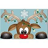 Rouku Pegatina navideña Santa Elk Navidad PVC Pegatina estática Snow Flake Wall Window Sticker Navidad Año Nuevo Decoración de la Pared (Elk)