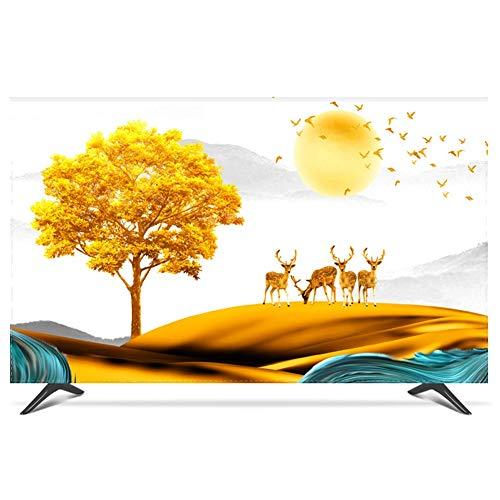 NANKAN 28 Bis 80 Zoll Hülle Bezug für Fernsehen Schutzhülle für LCD, LED TV Displayschutzfolie Universal Innen Helles Ölgemälde Muster Staubschutz Polyester TV-Abdeckung (Color : Tree, Size : 70in)