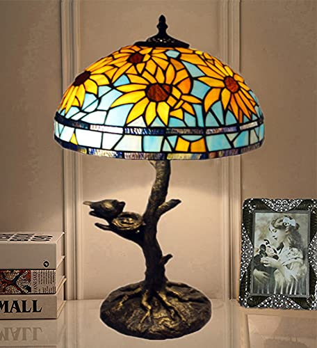 NANXCYR Tiffany Style Lámparas de Mesa Antigua Girasol Manchado lampana Lectura lámpara Escritorio luz Resina Base para Sala de Estar Dormitorio Dormitorio Bar cafetería 12 Pulgadas