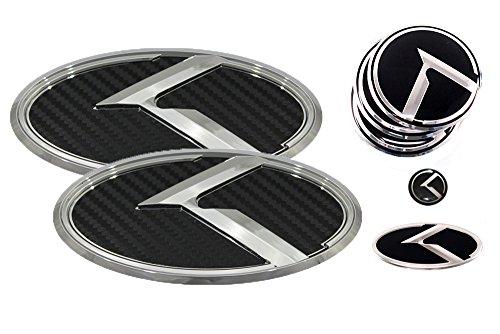 3D K Logo Emblem Carbon Fiber & Chrome Edition Set 8pc Front + Rear + Steering Wheel + Wheel Cap + Mini Sticker (Fits: KIA 2015-2018 K900, K9, Quoris)