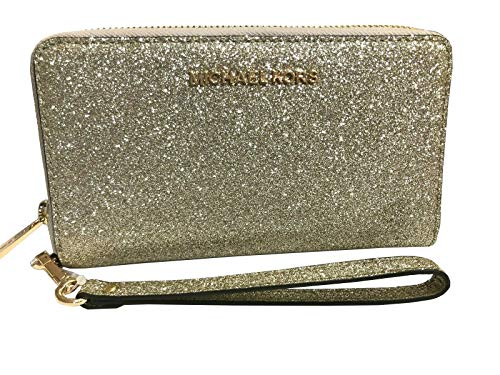 Michael Kors Jet Set Travel Large Flat Zip MF Phone Case Glitter Giftable Leather Wristlet Wallet (Pale Gold)
