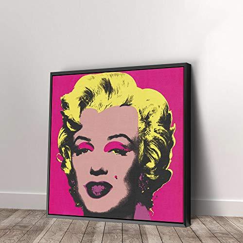 Andy Warhol Marilyn Monroe Pop Art Print on Canvas Art Wall Art Home Decor (12in x 12in Modern Black Framed)