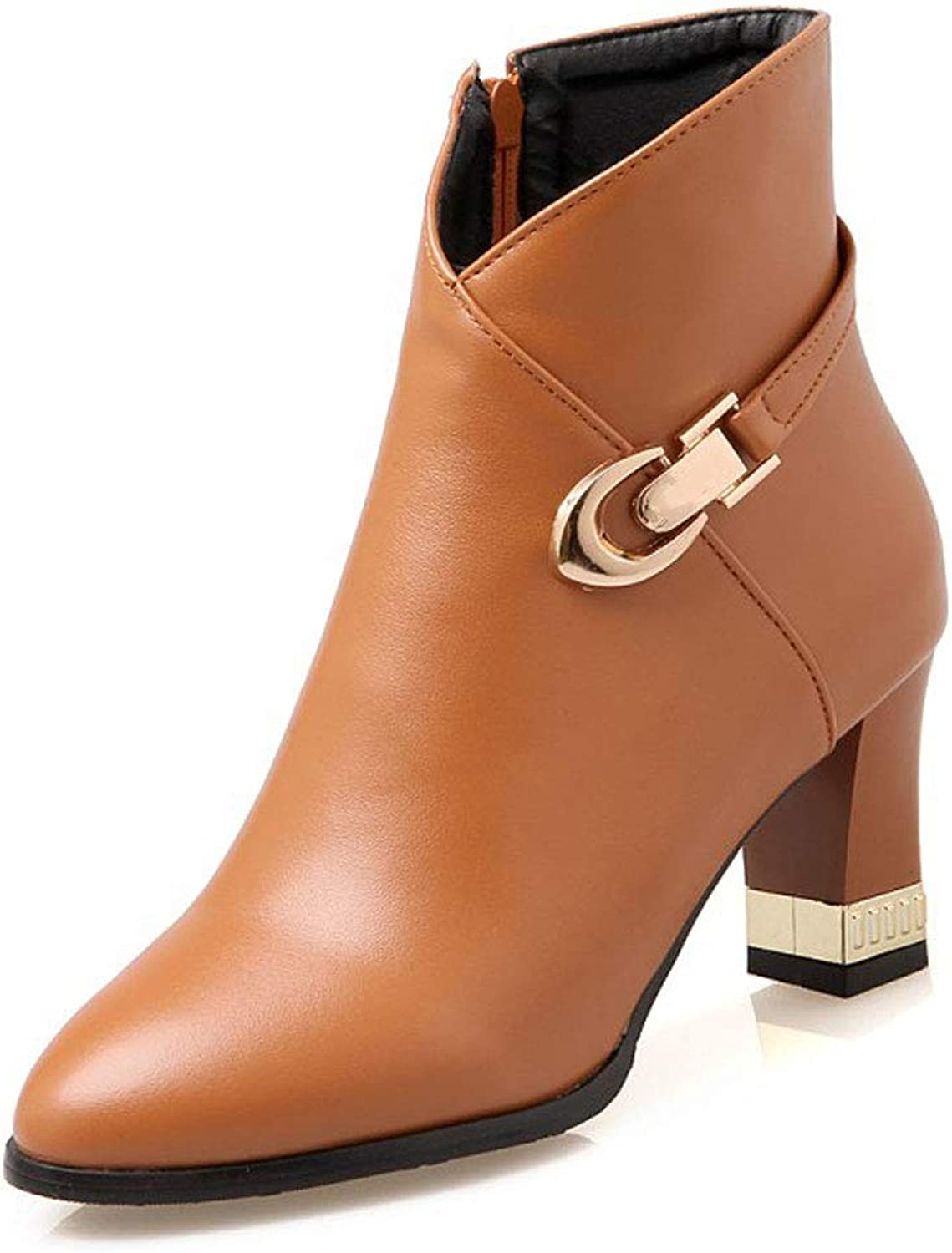 Fashion Ankle Boots, High Heels Thick with Large Size Low Tube Martin Boots Pointed Side Zipper Short Boots Belt Buckle Waterproof Platform Ladies Slip PU shoes
