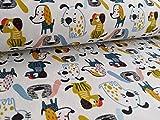 Sweatshirtstoff mit Hunden im Comicstyle auf Ecru als