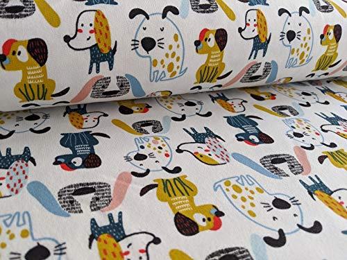 Qualitativ hochwertiger Sweatshirtstoff mit Hunden im Comicstyle auf Ecru als Meterware zum Nähen von Erwachsenen, Kinder- und Baby Kleidung, 50 cm