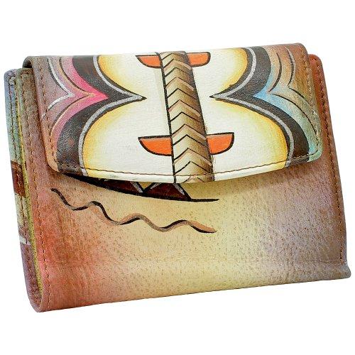 Greenland Art + Craft Damen Geldbörse Geldbeutel Portemonnaie Mehrfarbig echt Leder Nature 98-06
