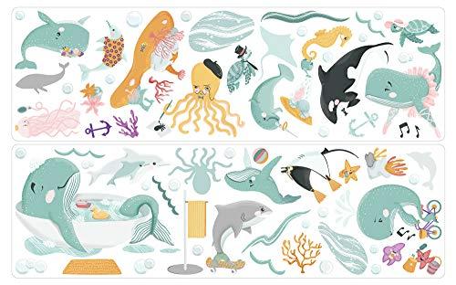 dekodino® Wandtattoo Kinderzimmer Wale, Delfine, Schildkröten, Fische, Ozean XL