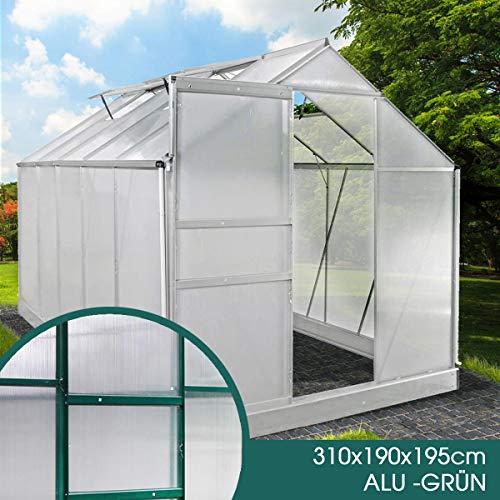 BRAST Gewächshaus Aluminium mit Fundament rostfrei 310x190x195 Grün 6mm Platten Alu Treibhaus Glashaus Tomatenhaus