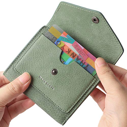 Borgasets Women's RFID Blocking Small Compact Bifold Leather Pocket Wallet Ladies Mini Purse (Nubuck Green)