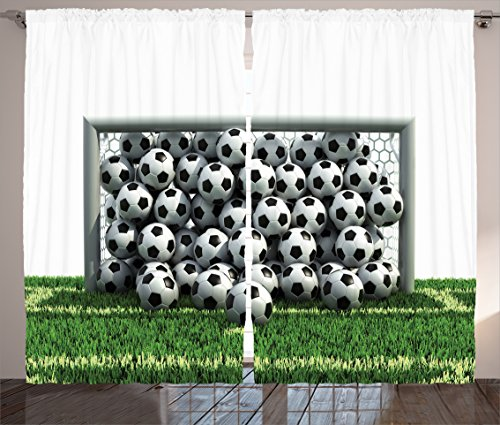 Ambesonne Sports Decor Collection, Goal Net Full of Soccer Balls on the Football Field Schoolyard Victory Image, Living Room Bedroom Curtain 2 Panels Set, 108 X 84 Inches, Green Black and White