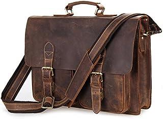 Men's Shoulder Bag Vintage Leather Men's Bag Shoulder Bag Simple Atmosphere Thick Leather Briefcase (Color : Brown)