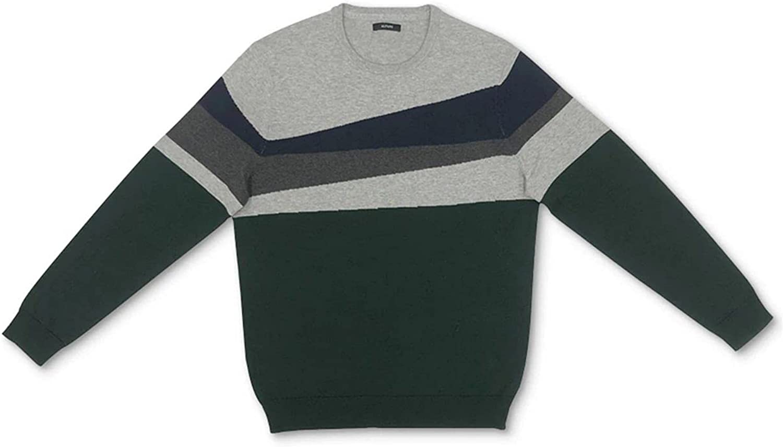 Alfani Mens Sweater Large Pullover Crewneck Colorblock Gray L