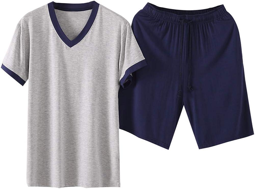 Men's Short-Sleeve Top Shorts Pajama Sets Soft Modal Sleepwear Lounge Set