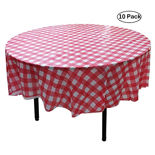 MATENG 10 Pack 84 inch Round Plastic Tablecloth, Checkered BBQ Tablecloth,Red & White Gingham Plastic Tablecloth.