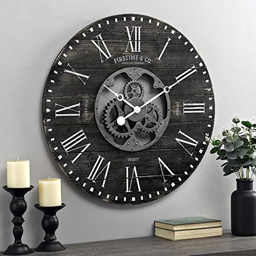 FirsTime & Co. Black Shiplap Gears Farmhouse Wall Clock, American Designed, Black, 27 x 2 x 27 inches