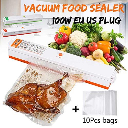 200V Huishoudelijke Voedsel Vacuüm Sealer Verpakking Auto Machine Film Sealer Vacuümpacker Inclusief 10st Zakken EU/US Stekkers Groen/geel, geel US Plug