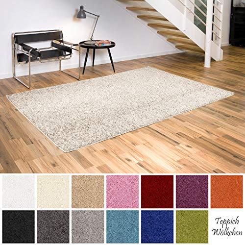 Teppich Wölkchen Shaggy-Teppich | Flauschige Hochflor Teppiche für Wohnzimmer Küche Flur Schlafzimmer oder Kinderzimmer | Einfarbig, schadstoffgeprüft, allergikergeeignet (Creme, 80 x 150 cm)