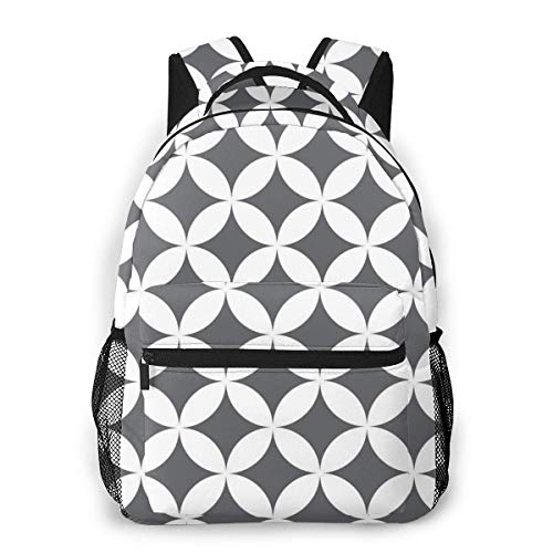Lawenp White Circle Pattern Travel Laptop Backpack Business Anti Theft Slim Durable Laptops Backpack Water Resistant College School Computer Bag for Women & Men Fits 15.6 Inch Notebook
