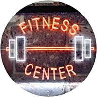 Fitness Center Gym Room Weight Train Dual Color LED看板 ネオンプレート サイン 標識 白色 + オレンジ色 400 x 300mm st6s43-i0313-wo