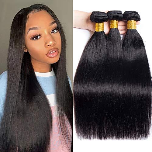 9A Remy Brazilian Virgin Hair Straight 16 18 20,MSGEM Human Hair 3 Bundles Deals Unprocessed Brazilian Human Hair Weave Bundles Natural Color