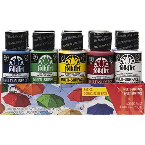FolkArt Color, 10 Bottle Multi-Surface Acrylic Paint Set, 2oz, Basics