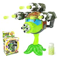 1PCS Interesting Plants vs Zombies Anime Figure Model Toy 15cm Gatling Pea Shooter(3 Guns)High Quality Launch Toy for KidsGift