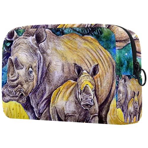 Bolsa de cosméticos Bolsa de Maquillaje para Mujer para Viajar Llevar cosméticos Cambiar Llaves, etc.,Rinoceronte Adulto y Rinoceronte bebé