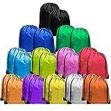 UltraOutlet 24 Pack Nylon Drawstring Backpack Cinch Sacks Goodie Bags in Bulk for Soccer Kids Men Women Gym Sack Multi Colors