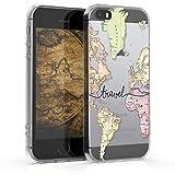 kwmobile Coque Apple iPhone Se / 5 / 5S - Coque pour Apple iPhone Se / 5 / 5S - Housse de téléphone en Silicone Noir-Multicolore-Transparent