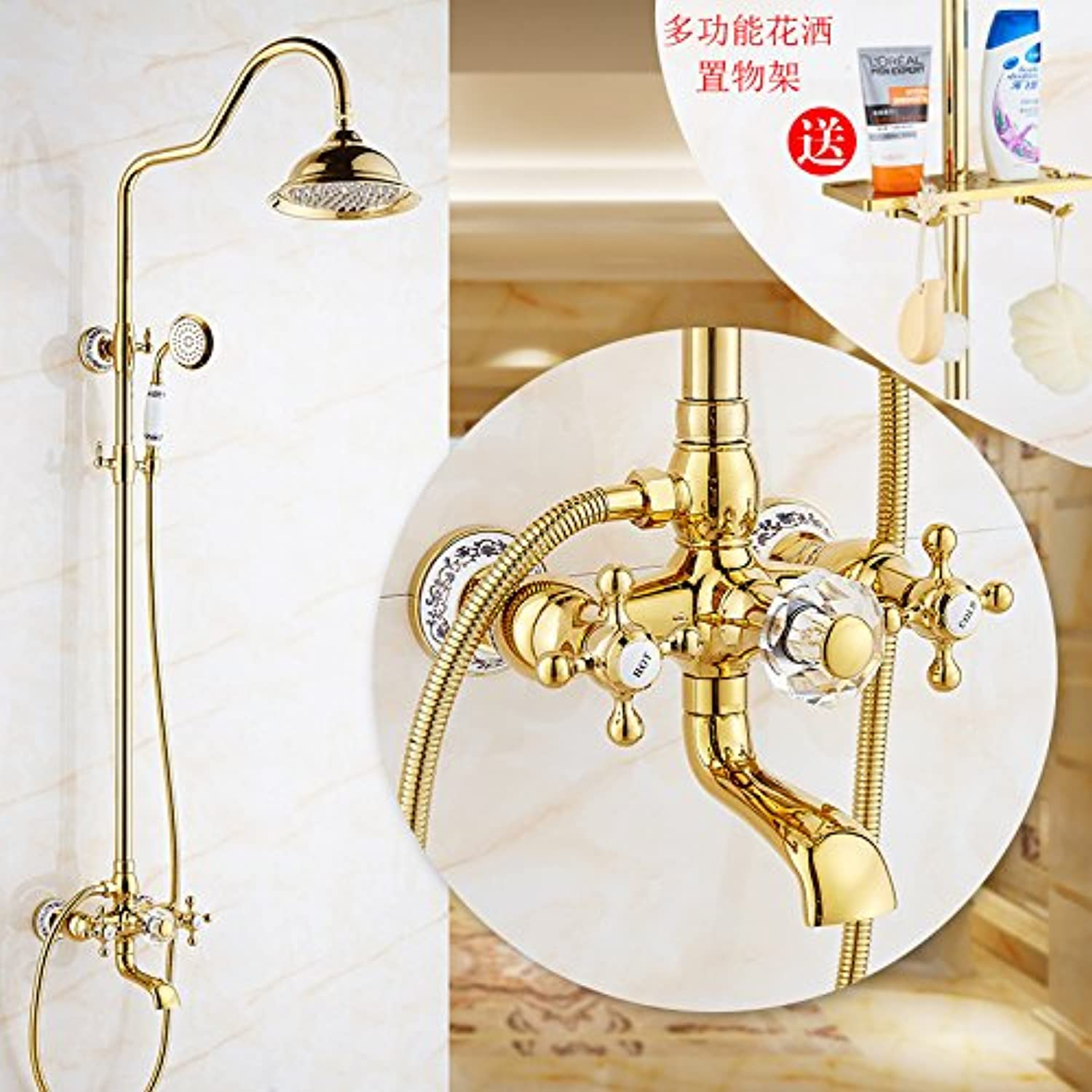 Hlluya Professional Sink Mixer Tap Kitchen Faucet The golden showers shower kit full copper antique Bath Faucet antique rain shower, ceramic, C