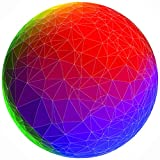 Bgraamiens Puzzle-Geometric Rainbow Ball-1000 Pieces Creative Geometric 3D View Round Blue Board Color Challenge Jigsaw Puzzle