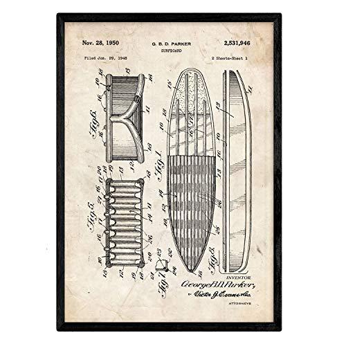 Nacnic Poster con patente de Tabla de surf 2. Lámina con diseño de patente antigua en tamaño A3 y con fondo vintage