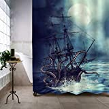 """MitoVilla Nautical Sailboat Shower Curtain Set, Giant Sea Monster Octopus Kraken Attack Pirate Ship Art Print Bathroom Decor for Mens and Boy Ocean Animal Themed Gifts, 72"""" W x 84"""" L"""