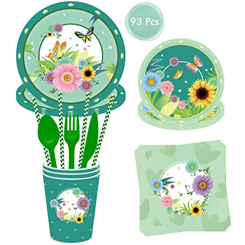 DreamJing Butterfly Party Pack 93Pcs Disposable Dinnerware Set Include Party Plates, Cups, Napkins Tableware Set for Kids Birthday Party Spring Themed Party Decoration Serves 8 Guests