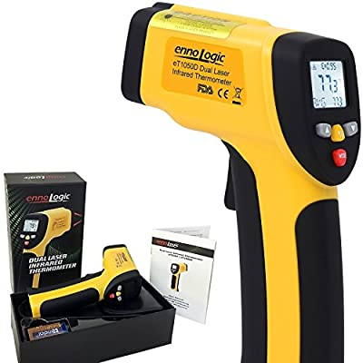 ennoLogic Temperature Gun (NOT for BODY TEMPERATURE) - Accurate High Temperature Dual Laser Infrared Thermometer -58°F to 1922°F - Digital Surface IR Thermometer eT1050D w/NIST Certificate