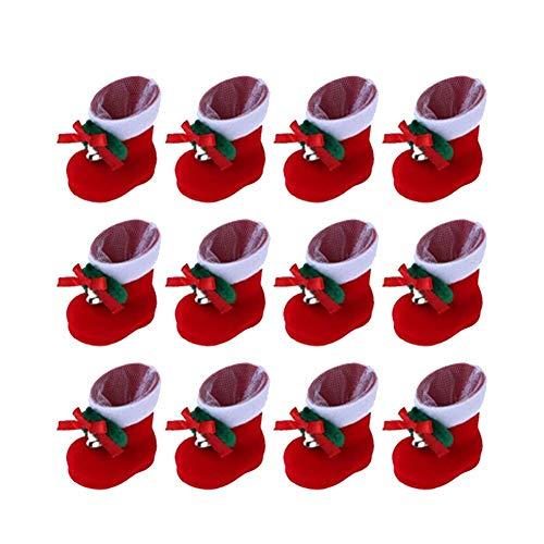 XYDZ 20pcs Kleine Deko Mini Nikolausstiefel, zum Befüllen und Aufhängen Weihnachts Stiefelchen Weihnachten Dekoration Geschenktüten mit Klingel