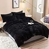 HAOK Plush Shaggy Duvet Cover Set - 5 Pieces Faux Fur Fluffy Bed Sets (1 Shaggy Duvet Cover + 2 Shaggy Pillow Shams + 2 Pillowcases), Crystal Velvet Fuzzy Comforter Cover Bedding Sets(Queen, Black)