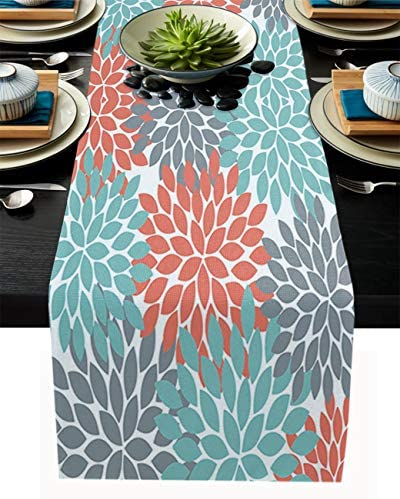 Gsypo Dahlia Table Runners 90 Inches Long Dahlia Pinnata Flower Teal Coral Gray Table Runner product image