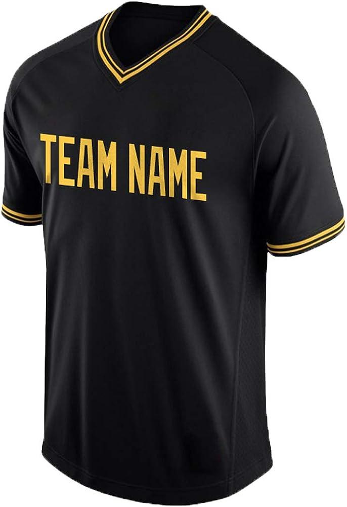 DEHUI Max 84% OFF OFFicial store Custom Men Women V-Neck Replica wit Baseball Stripe Jersey