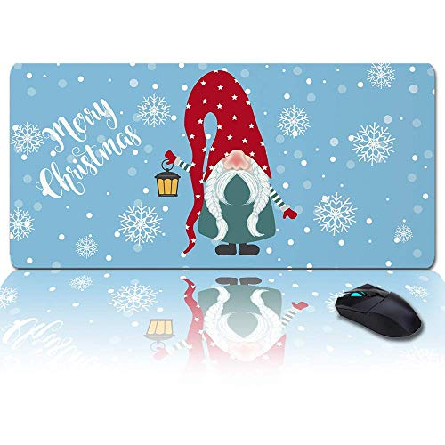 MIGAGA Extra Large Extended Gaming Mouse Pad(35x15 in),Merry Christmas Santa Claus Dwarf Snowflake Holiday Decor Mousepad,Long Non-Slip Rubber Base,XXL Large Keyboard Desk Mat for Desktop/Office