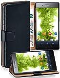 MoEx Premium Book-Hülle Handytasche kompatibel mit Sony Xperia XZ Premium | Handyhülle mit Kartenfach & Ständer - 360 Grad Schutz Handy Tasche, Schwarz