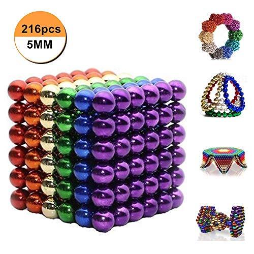 Mag-Balls Varias Variantes: 216 Bolas magnéticas de 5 mm para pizarras Blancas, pizarras magnéticas, frigoríficos. (6Color)
