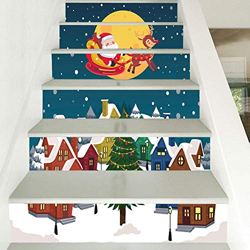 Navidad vestir escaleras pegatinas Santa Claus escaleras en el cielo decoración pegatinas de pared decoración del hogar dormitorio sala de estar PVC