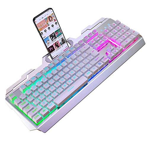 Keyboards robot-toetsenbord, metaal, houder voor mobiele telefoon, verlicht, kan worden geplaatst, voor bureau, games, bekabeld, stil, gebruikt voor Win7/8/10