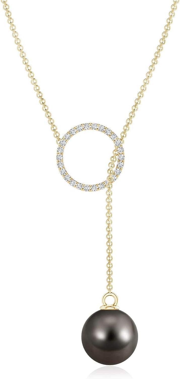 Tahitian Cultured Pearl Circle Lariat Necklace (9mm Tahitian Cultured Pearl)